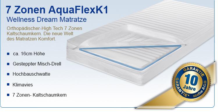 7 zonen aquaflex k1 matratzen 90 x 200. Black Bedroom Furniture Sets. Home Design Ideas